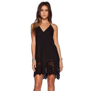 Free People Black Lace Cotton Slip Dress